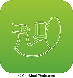 Studio microphone icon green vector