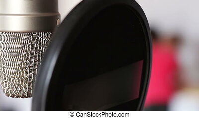 Studio microphone in recording studio close up view - Studio...