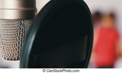 Studio microphone in recording studio close up view - Studio...
