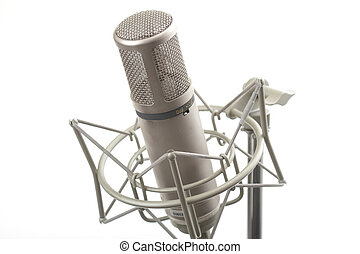 Studio microphone on stand with shock mount