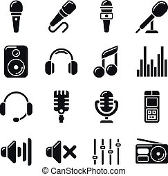 Studio microphones, music vector icons
