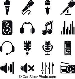 Studio microphones, music vector icons