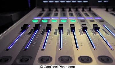 Studio mixer   - Professional audio studio mixer in action