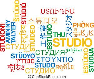 Studio multilanguage wordcloud background concept