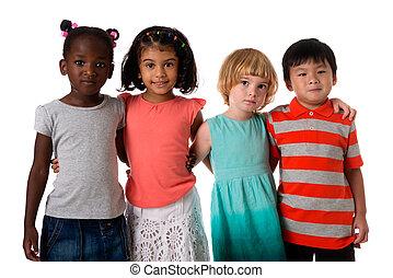 studio., multiracial, odizolowany, portret, grupa, dzieciaki