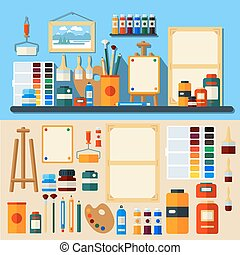 Studio of Art. Set of Tools and Materials for Creativity and...