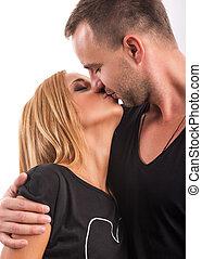 studio, paar, liebe, küssende