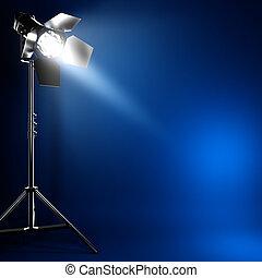 A 3D illustration of studio photo flash light with beam of light.