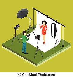 studio photographe, modèle, tir