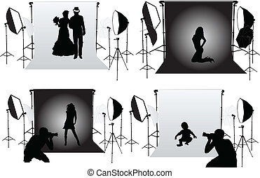 studio, photographie, -, photo, séances