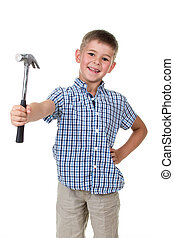 studio picture of a beautiful builder boy, dressed in blue checkered shirt, holding a hammer in his hand