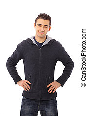 studio picture of a pensive young man, isolated on white