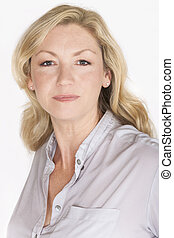 Studio Portrait Attractive Middle Aged Woman
