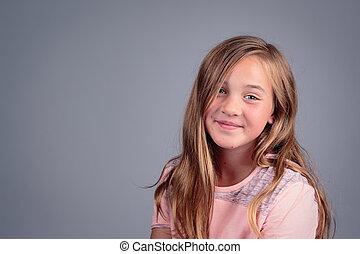 studio, portrait, girl, jeune