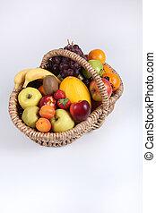 Studio portrait of a basket of fresh fruit