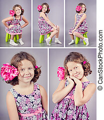 Studio portrait of a beautiful girl with a pink flower