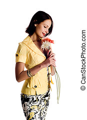 studio portrait of a beautiful sexy young woman with flower, isolated on white background