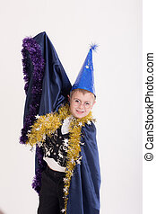 portrait of a boy in wizard clothes