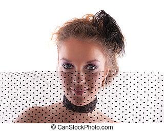 girl behind a black veil