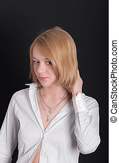 girl in a white shirt