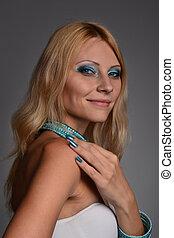 Studio portrait of a girl in blue