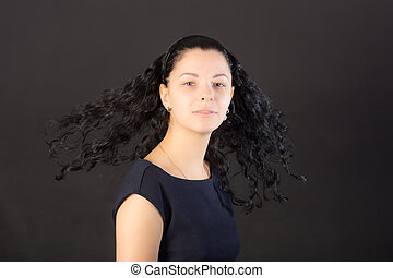 girl on a black background
