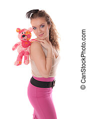 girl with a soft toy