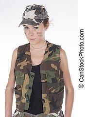 Model dressed as a military mercenary - Studio portrait of a...