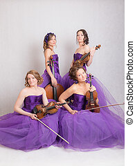 musical quartet with instruments