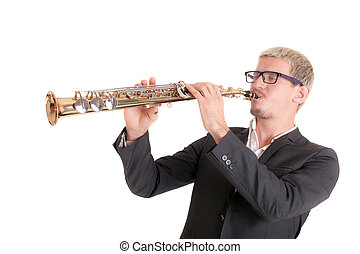 musician with soprano saxophone