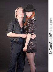 romantic couple on a black background