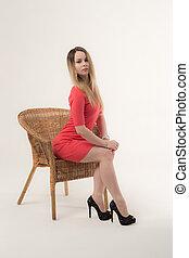 studio portrait of a slim girl