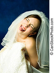young bride showing her tongue