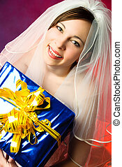 young bride with a present