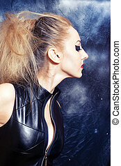 Blond woman with gothic make-up