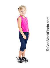 studio portrait of cute little girl