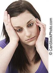 Studio Portrait Of Depressed Woman