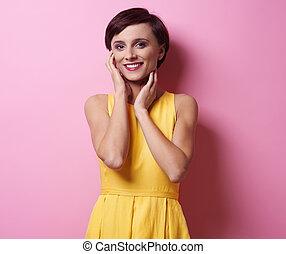 Studio portrait of female model