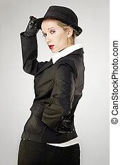 Studio portrait of mafia woman