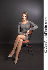studio portrait of slim girl