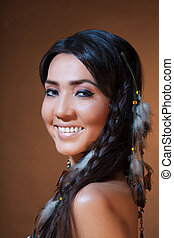 Smiling American Indian woman