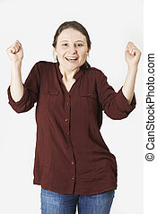 Studio Portrait Of Woman With Jubilant Expression