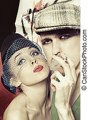 men and women in retro style - Studio portrait of young men...
