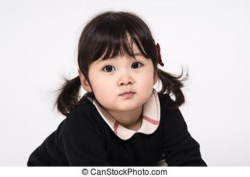 Studio portrait shot of 3-year-old Asian baby