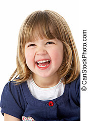 studio, portret, od, śmiech, młoda dziewczyna