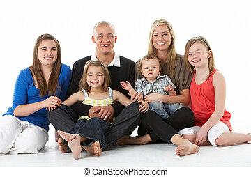 studio, prise vue groupe, famille, séance
