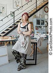 studio, propre, mûrir, art, hipster, femme
