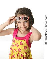 studio, ragazza, occhiali da sole, giovane