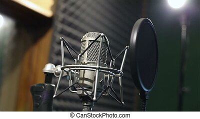Studio recording, professional microphone in the recording...