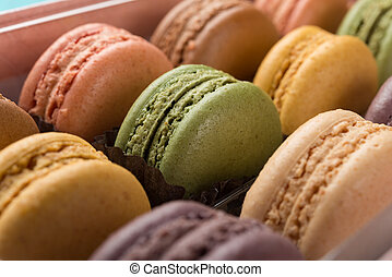 studio shoot of colorful macaroons close up
